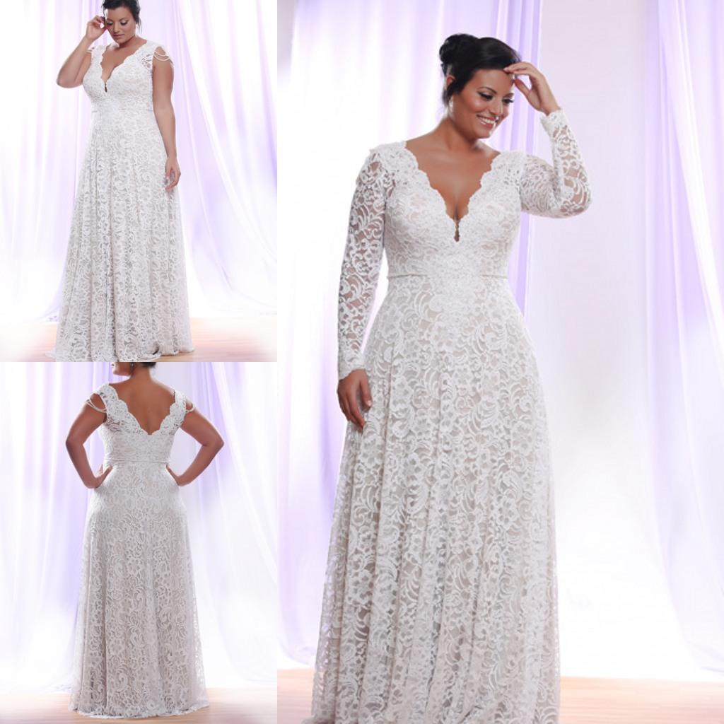 Plus size white lace evening dress 2016 long sleeves deep for Plus size lace wedding dresses with sleeves