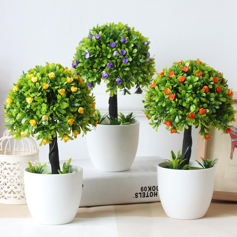 2017 hyson shop decorative flower mini bonsai pots for Artificial plants for decoration