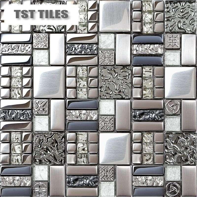 Best quality home tiles mosaics silver metal coating glass tile ...