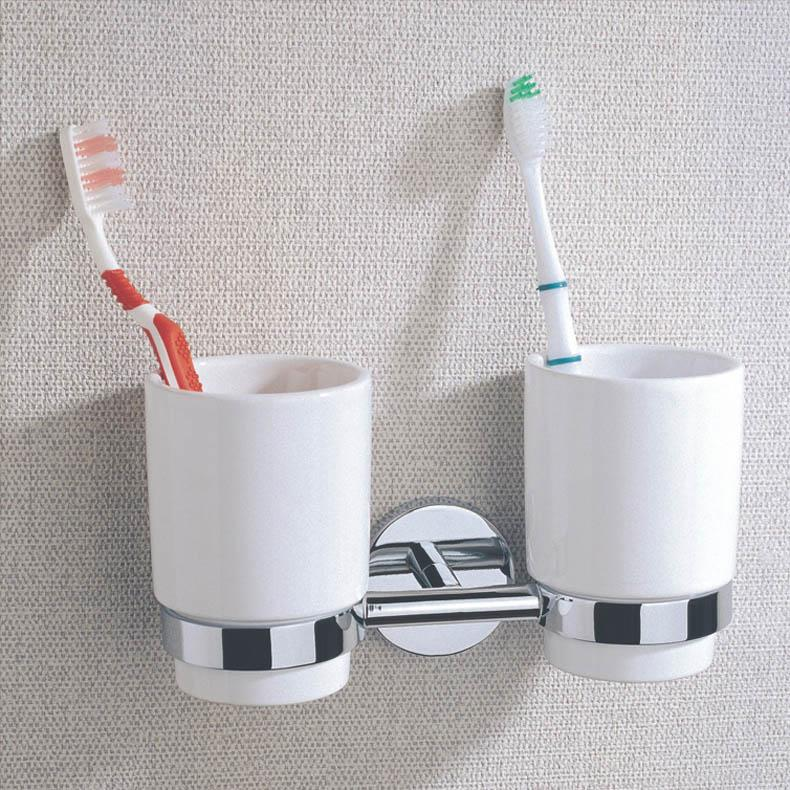 Chrome Plate Brass Bathroom Double Tumbler Holders With Ceramic Cup, Wall  Mounted Toothbrush Holders For Sale Wholesale Brass Double Tumbler Holder  Bathroom ...