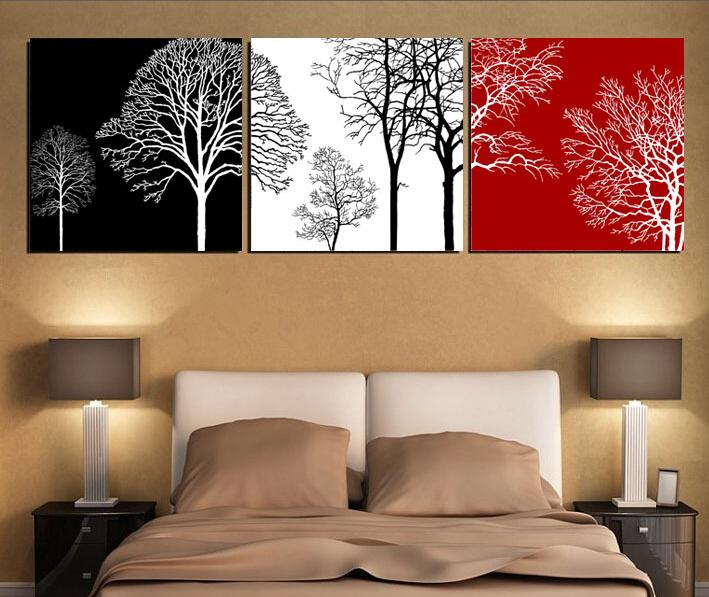 2017 black white and red tree modern wall art oil painting home decor picture print on canvas. Black Bedroom Furniture Sets. Home Design Ideas