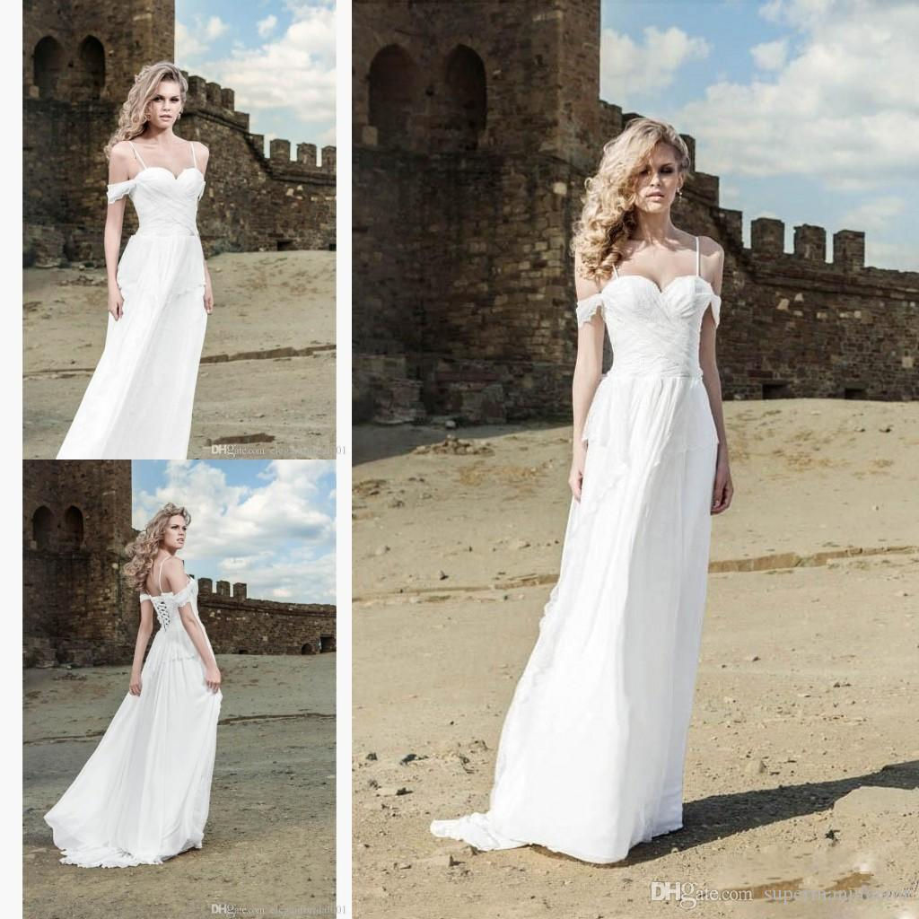 Discount long chiffon bohemian wedding dresses off for Off the shoulder beach wedding dresses