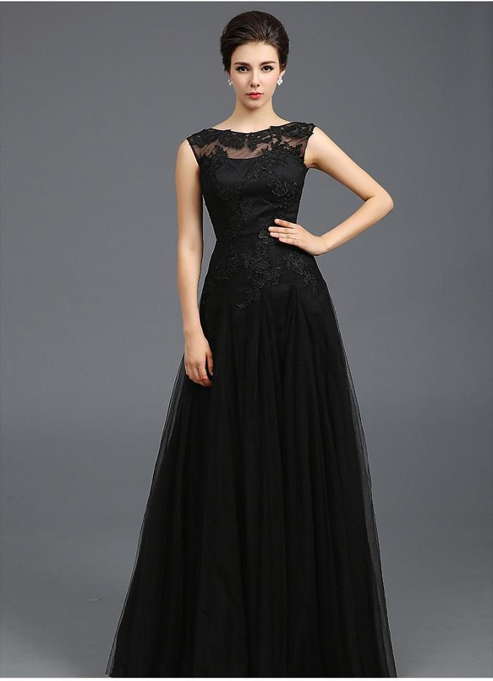 Modest 2015 Black Tulle A Line Evening Dresses Sheer Jewel Capped ...
