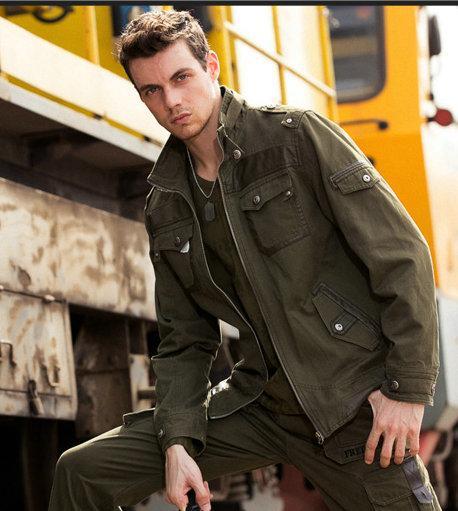 2016 Men Jacket English Style Military Jacket Solid Mandarin ...
