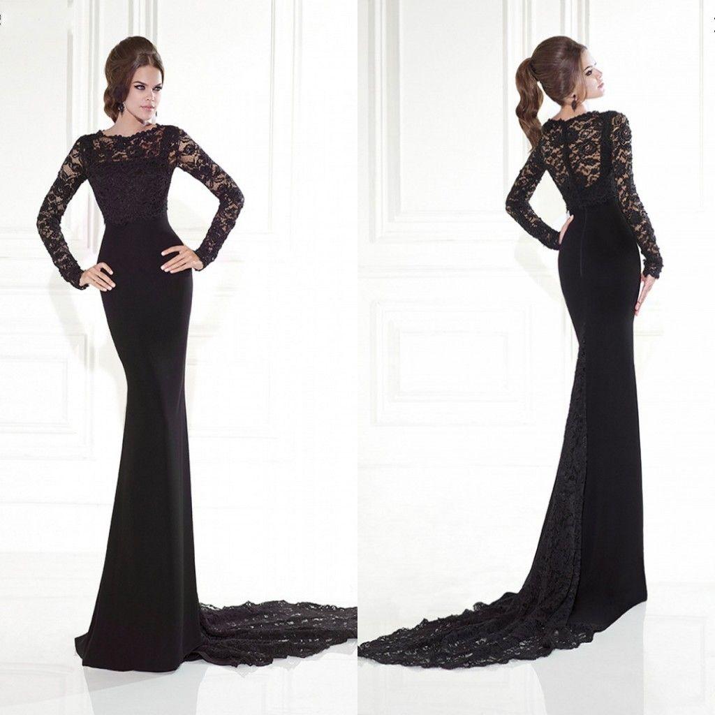 Black long sleeve evening dresses hot lace mermaid sweep for Long sleeve slim wedding dresses