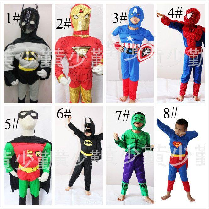 super heroes iron man hulk captain america superman spiderman batman full body suit costume muscle cosplay muscle suit for children kids batman superman iron man