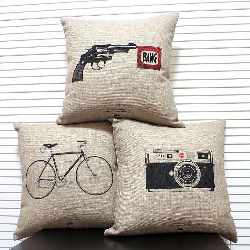2018 Original Retro Vintage Cushion Cover Linen Bicycle