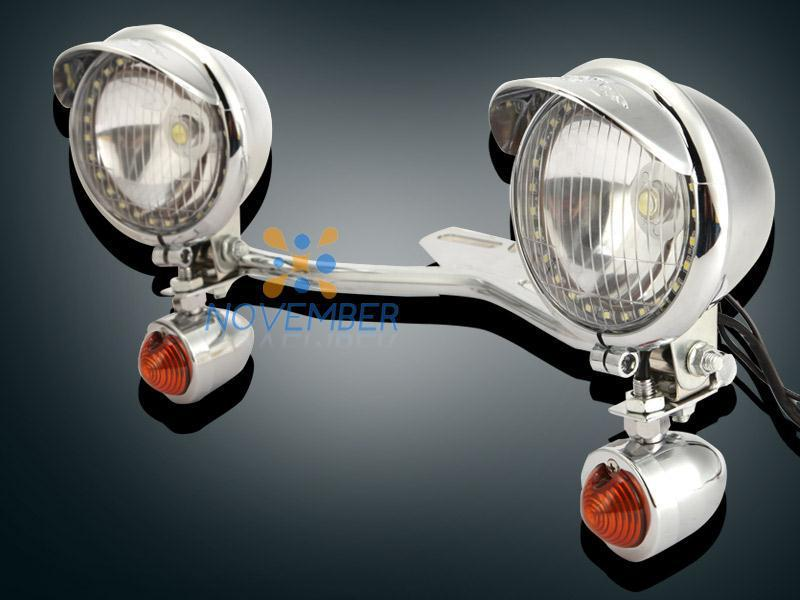 Round Motorcycle Led Headlight Fog Lamp Set Bullet Chrome