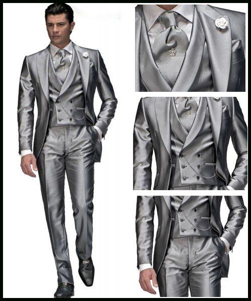 Custom Made Silver Grey Wedding Suits for Men Notch Lapel Groom
