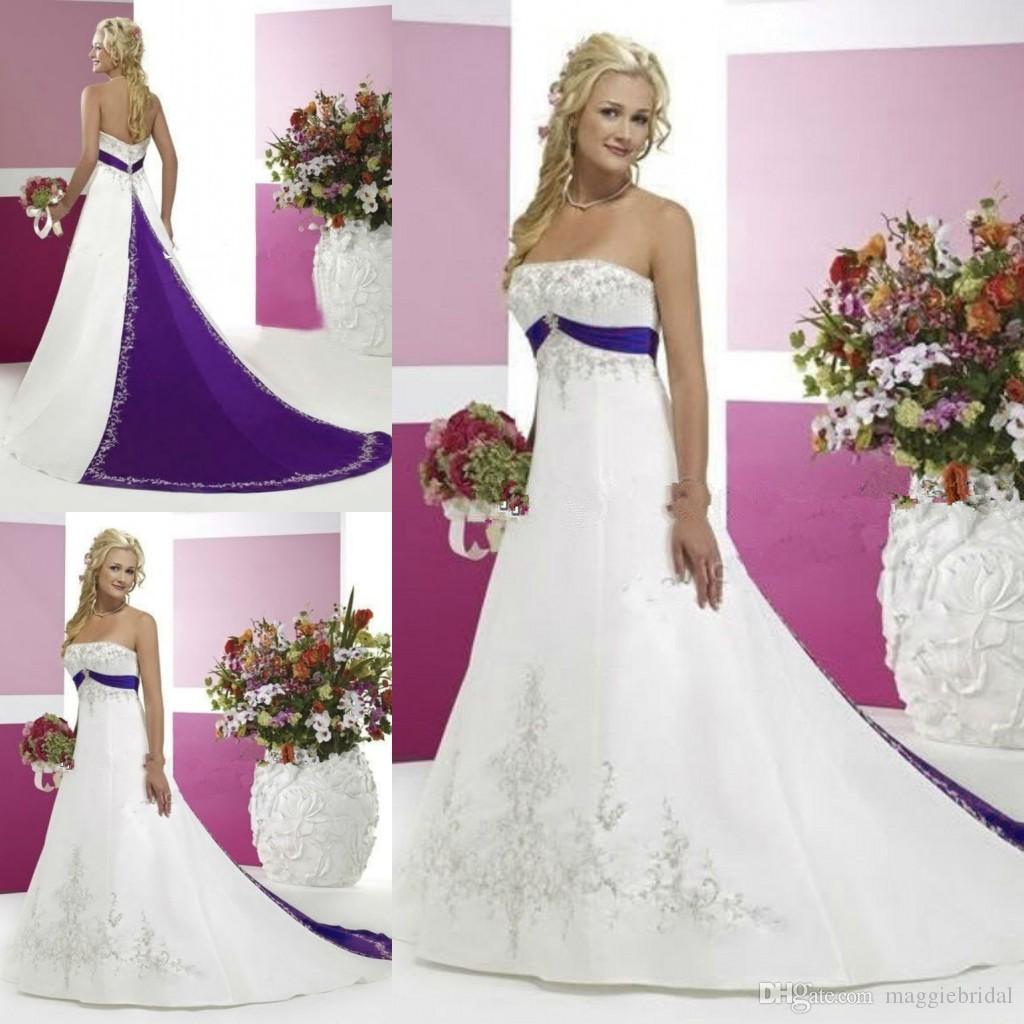 Vintage Purple And White Wedding Dresses A Line Vestido De