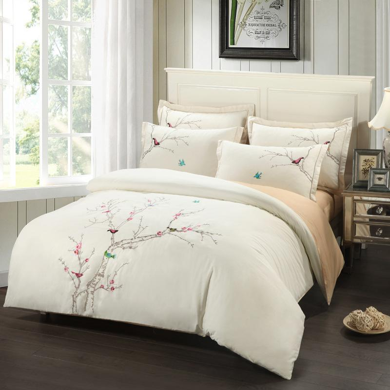 2018 Embroidery Plum Tree Magpie Birds Cotton Bedding Sets