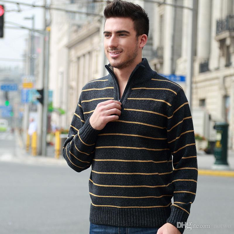 Fashion Men Sweaters 3 Colors Stand Collar Pullover Zipped Long Sleeve