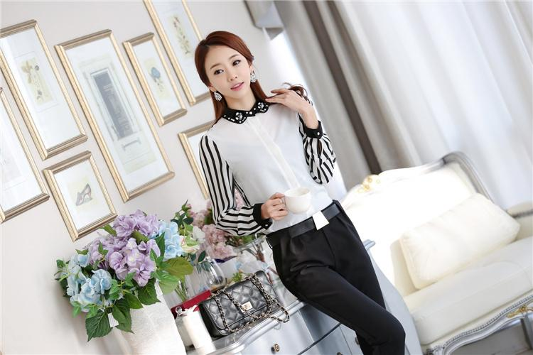 Winter Wear Plus Size Womens Clothing Work Shirts Contrast Color