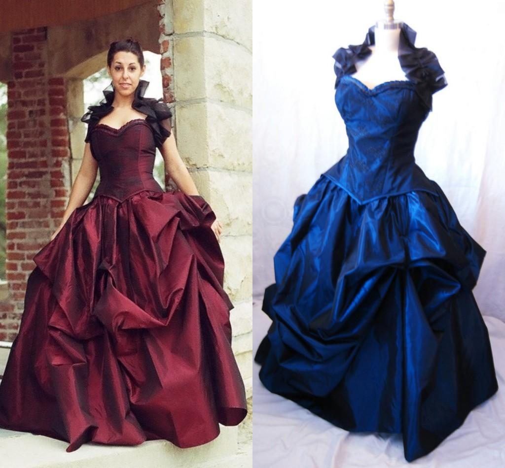 Bustle gown red wedding dress rachael gown victorian baird for Victorian bustle wedding dress