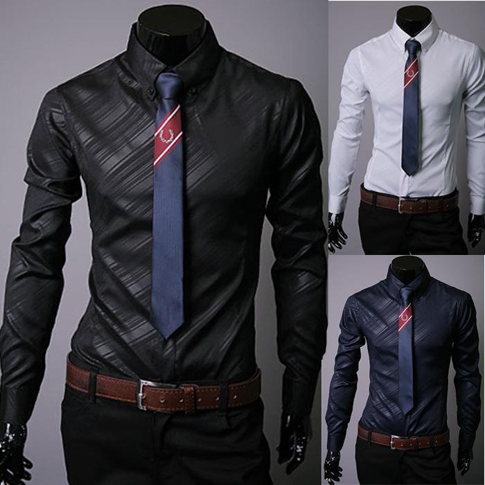 New Look Fashion Mens Long Sleeve Dress Shirt Blouse Men Skiny ...