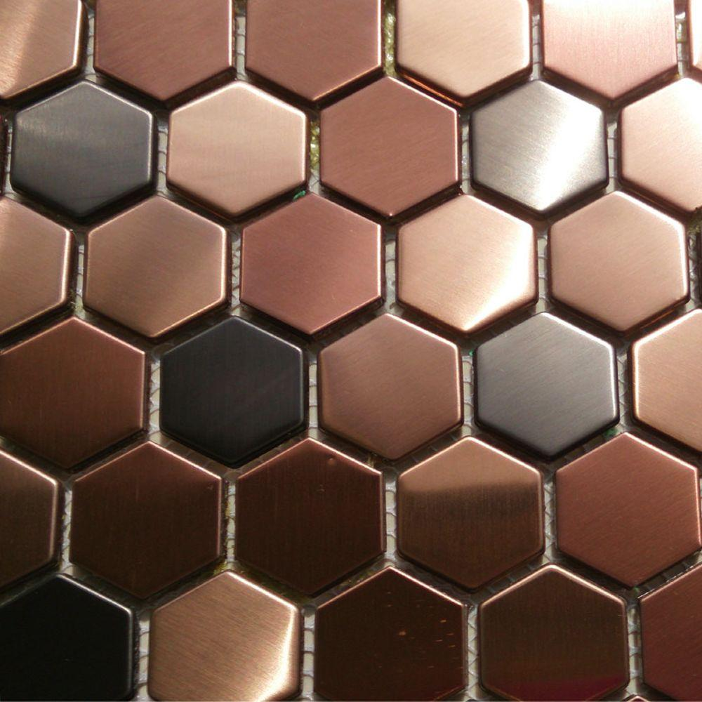2018 Hexagon Mosaics Tile Copper Rose Gold Color Black