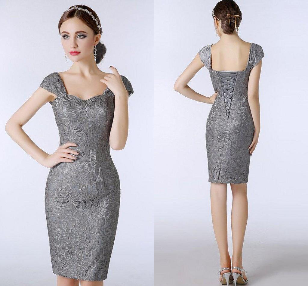 Lace Silver Grey Mother of The Bride Dresses Knee Length Sheath ...