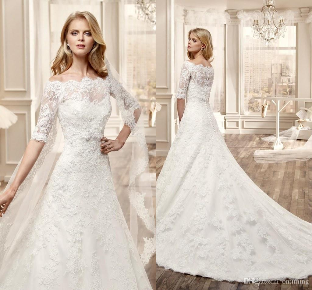 Discount 2015 f The Shoulder Lace Wedding Dresses With