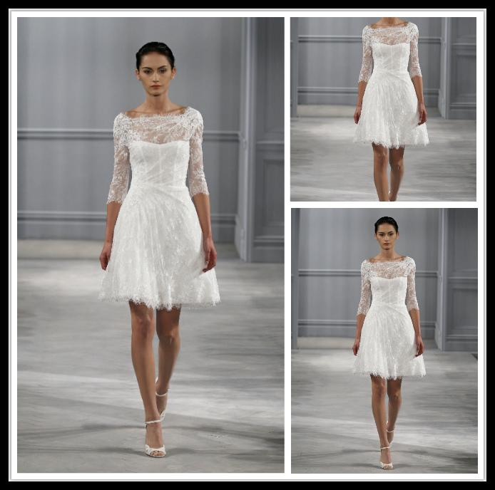 Discount Cheap Lace Short Wedding Dresses Under 100 Crew Long Sleeve A Line Knee Length Bridal