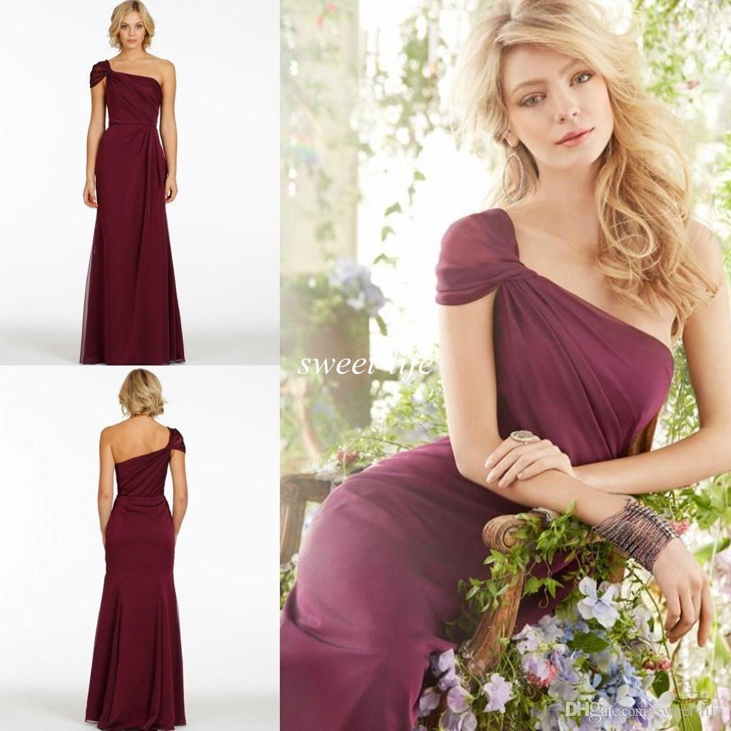 2015 elegant long bridesmaid dresses wine red one shoulder cap 2015 elegant long bridesmaid dresses wine red one shoulder cap sleeve ruffled pleated chiffon burgundy prom evening dress party queen gowns bridesmaid ombrellifo Choice Image
