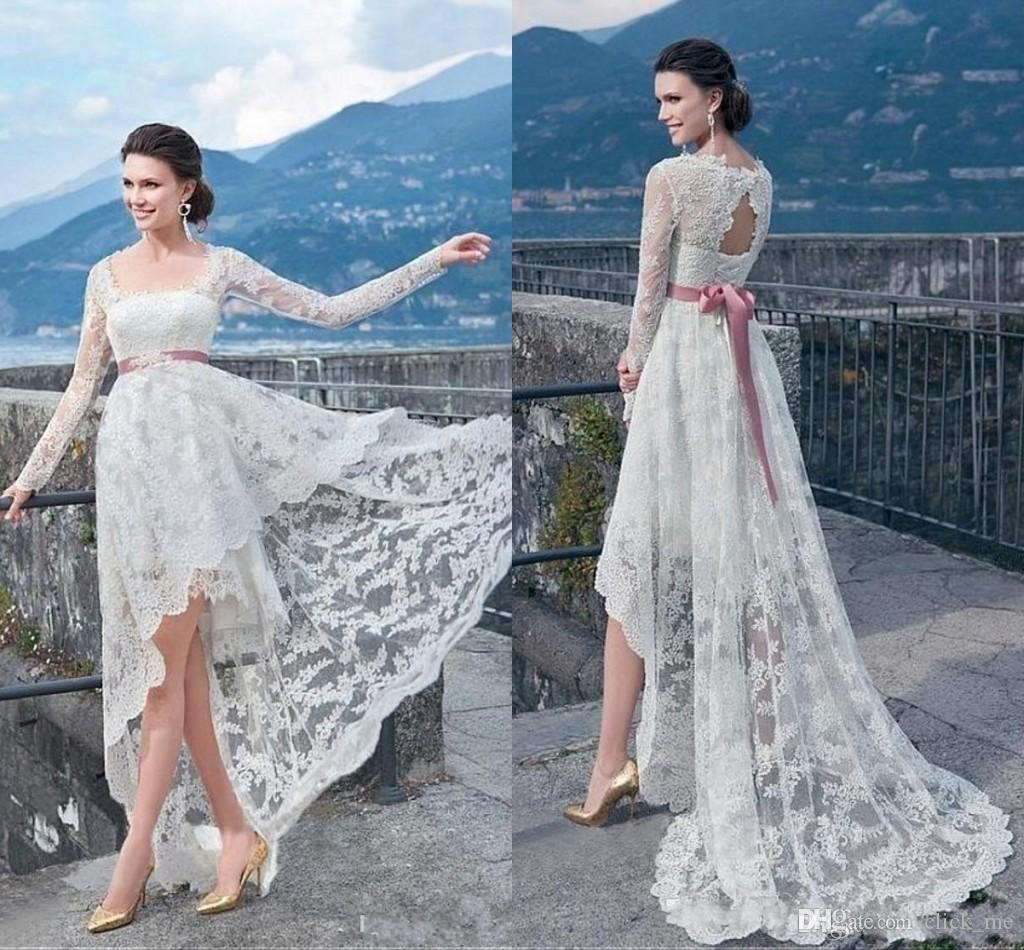 Bohemian wedding dresses high low long sleeve lace wedding for Long sleeve high low wedding dresses