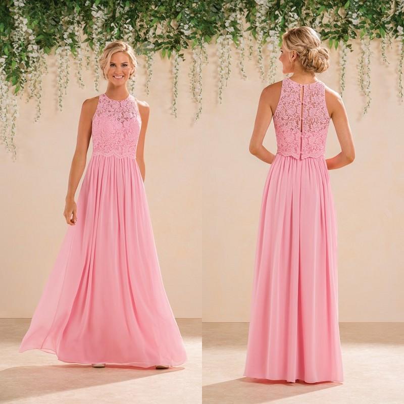 Jasmine 2016 modest peach pink lace chiffon long for Garden party wedding dress