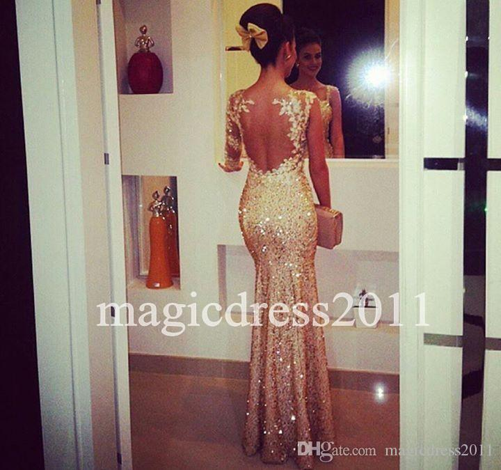 2015 Sexy Gold Mermaid Prom Dresses Evening Gowns Sweetheart Long ...