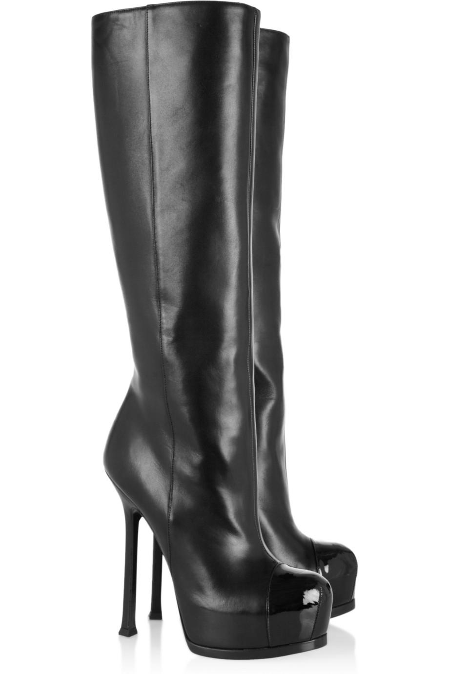 Black Knee High Boots For Women Platform Patent Round Toes Boots ...