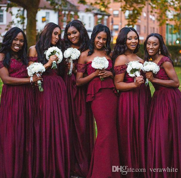 Burgundy Lace Stain Sweetheart Neck Bridesmaid Dresses