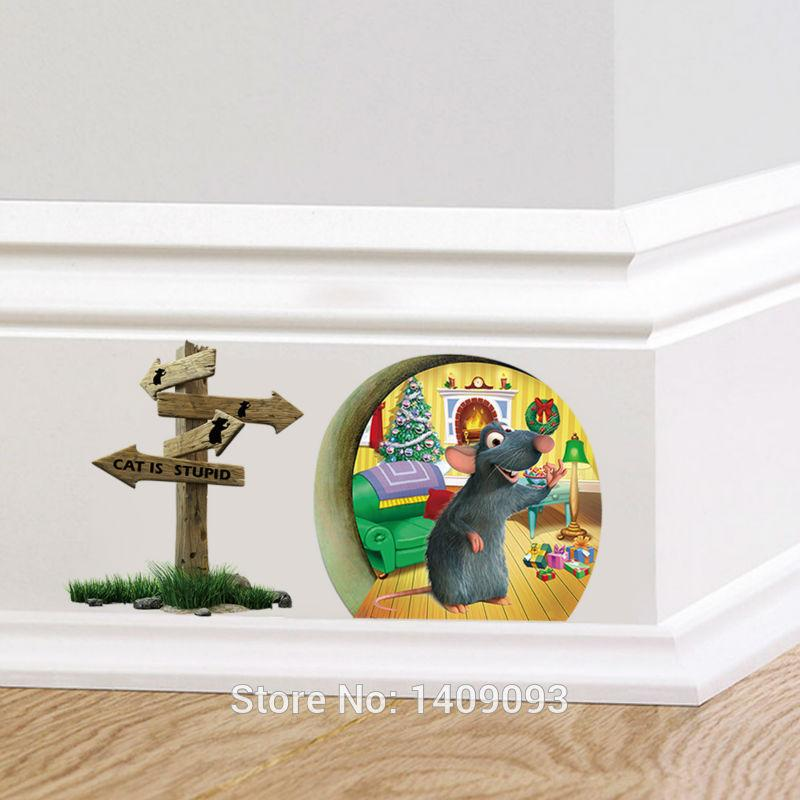 Cartoon 3d wall sticker animal for kids room 3d mouse hole for Decoration hole