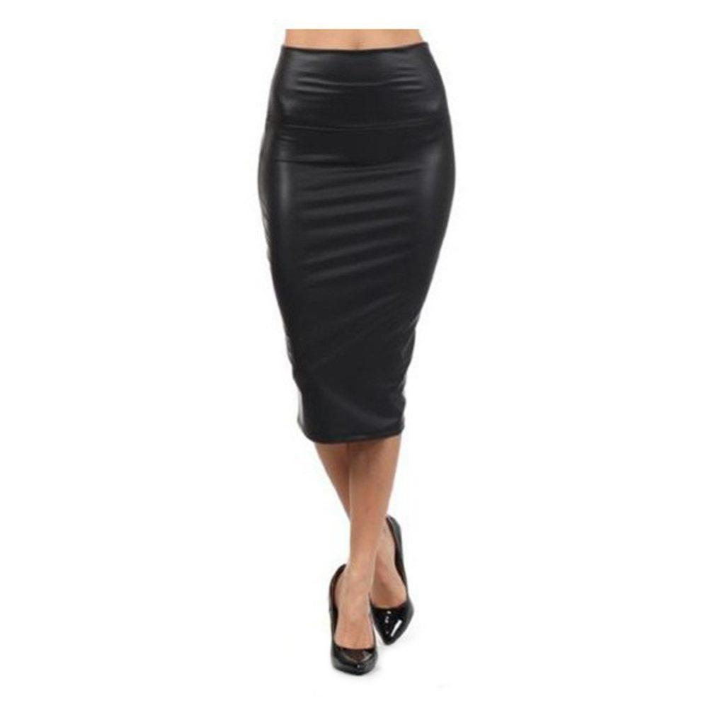 Discount Black Leather Midi Skirt | 2017 Black Faux Leather Midi ...