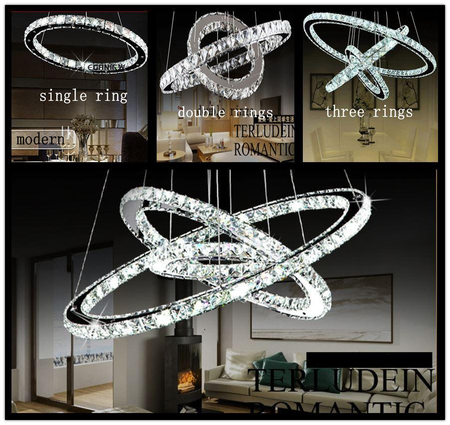 white chandeliers 2015 ring led k9 crystal lustre home decorative chandelier modern lamp pendant ceiling light - Decorative Chandelier