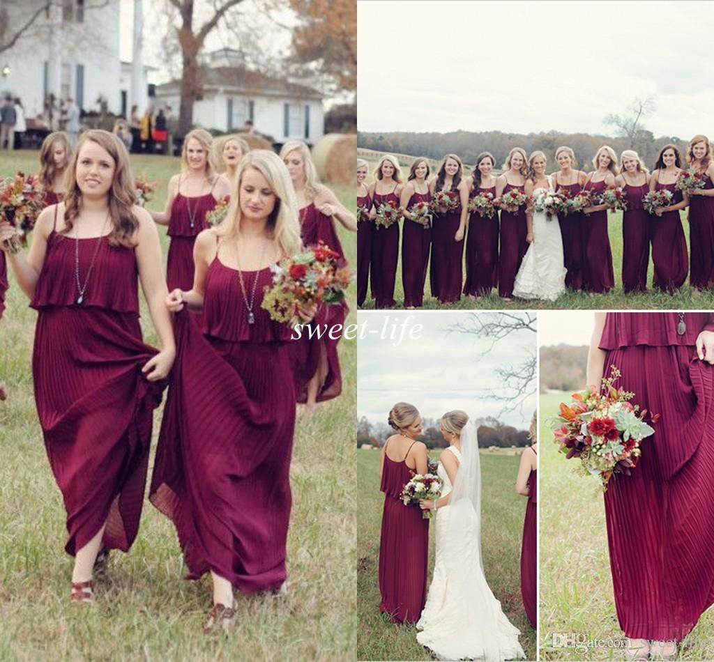 Cheap Burgundy Bridesmaid Dresses
