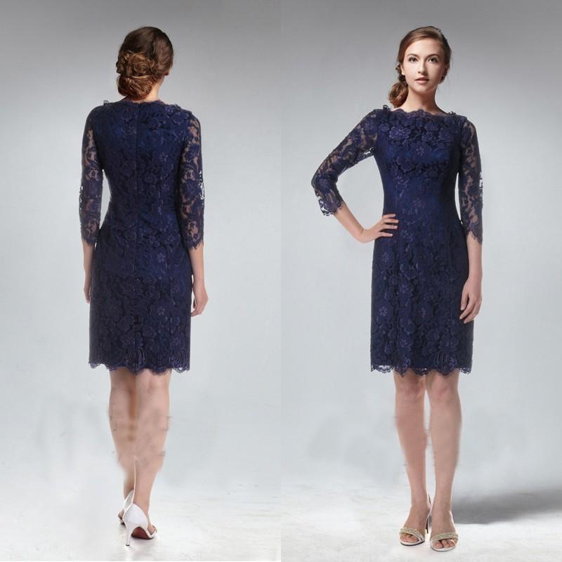 2015 Spring Vintage Navy Blue Bridesmaid Dresses Short Lace ...