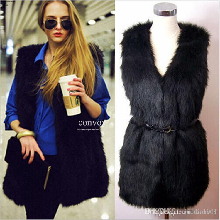 Online Cheap Ladies Woman Faux Fur Warm Vest Artificial Fur Jacket ...