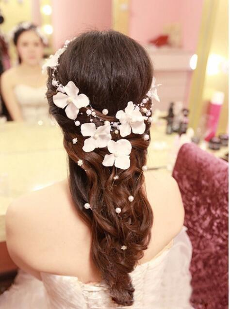 2016 cheap bridal hair accessories handmade flower pearl