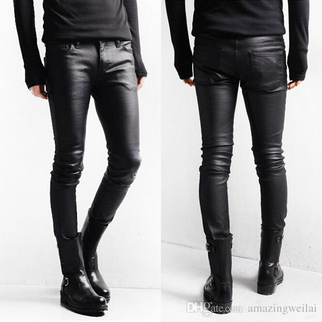 Korean Style Black Skinny Jeans Men Coated Denim Pants Washed Long ...