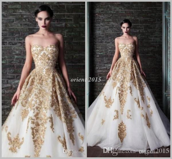 2014 Rami Kadi Gold Embroidery Wedding Gown White And Gold Wedding ...