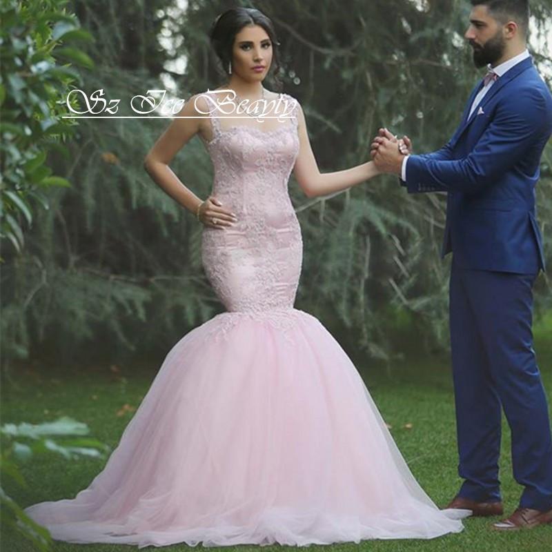 Arabic Blush Pink Mermaid Wedding Dresses Illusion Bodice