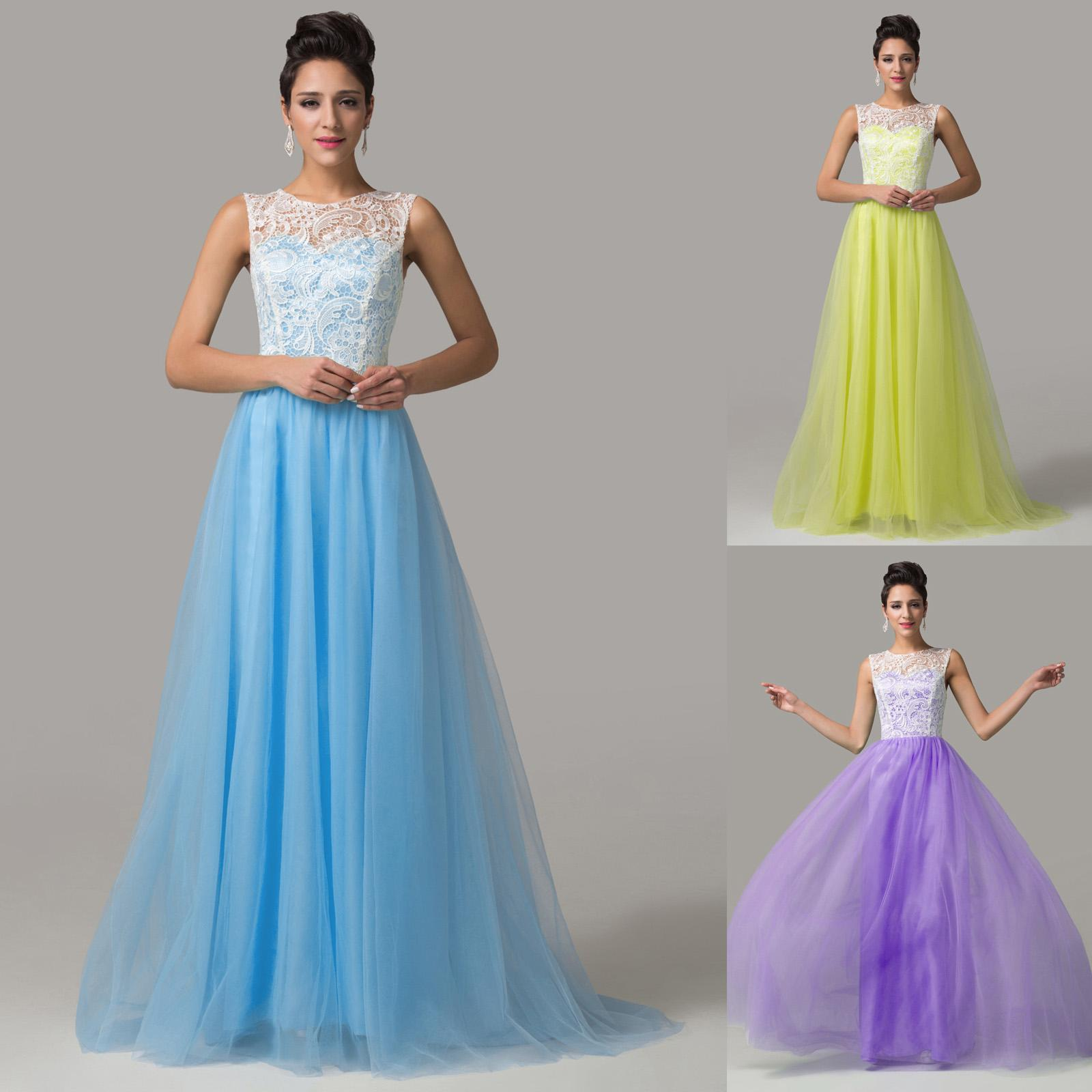 Grace Karin Floor Length Sleeveless Tulle Ball Gown Bridesmaid ...