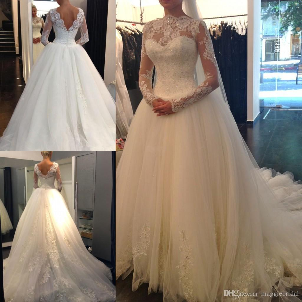 Vintage Sheer Long Sleeve Lace Wedding Dresses With Low Back High ...