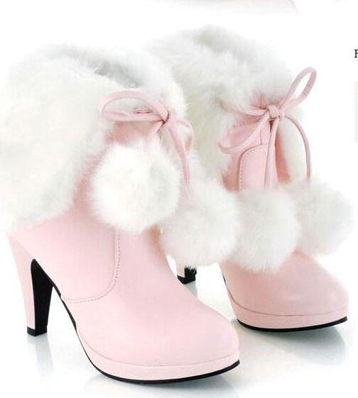 White Fur Platform Shoes