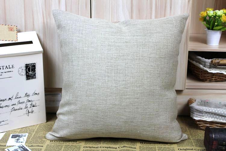 Vintage Solid Diy Blank Plain Natural Linen Cotton Cushion Cover Sofa Pillow Case Throw Pillow ...