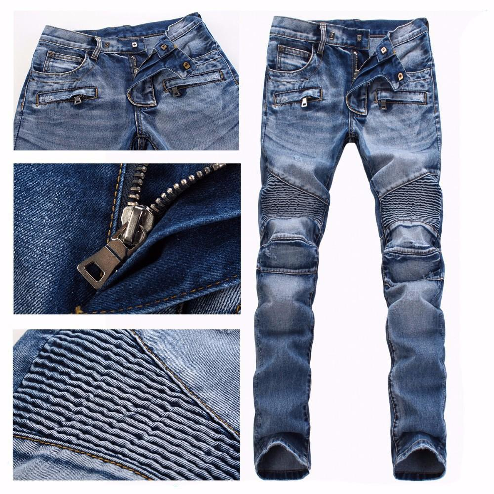 Men Brand Paris Runway Stretch Jeans Washed Acid Light Blue Biker ...