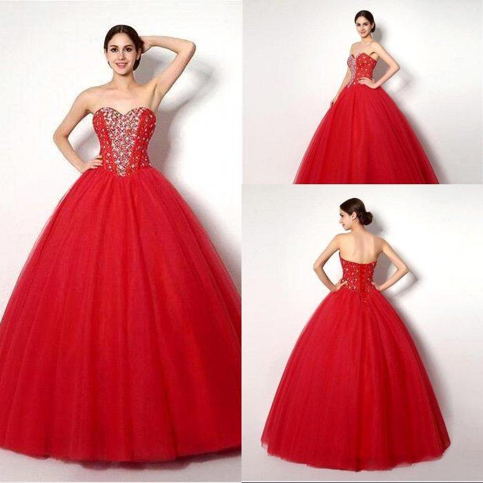 Luxury Crystals Red Quinceanera Dresses Ball Gowns 2015 Cheap ...