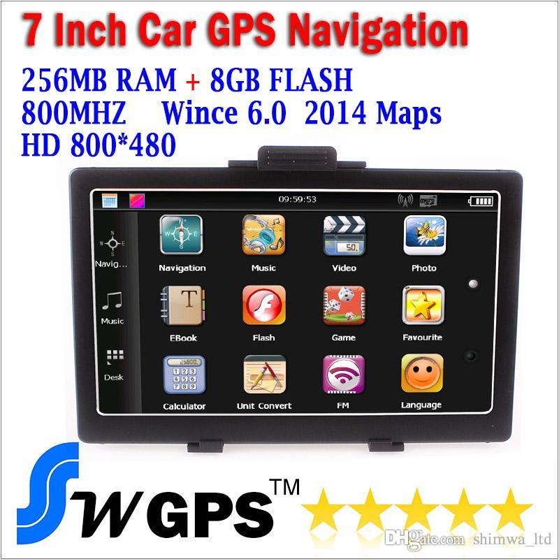Free shipping RAM 256M ROM 8G MTK2531 car GPS navigator 800MHz with FM wince 6 offer new maps support wholesale