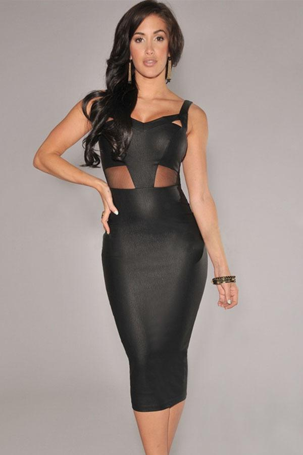 Office Dress 2015 New Sexy Black Faux Leather Mesh Accent Midi ...