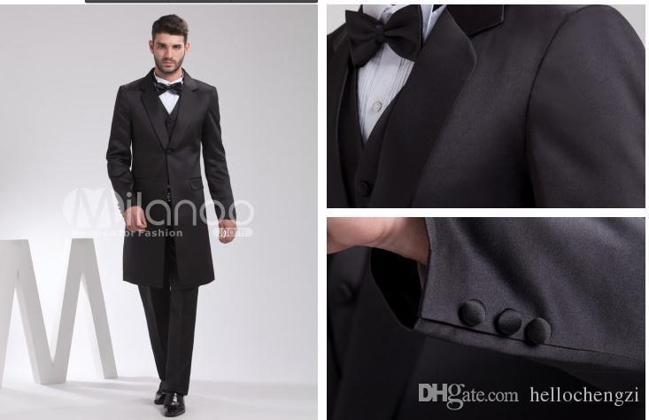 Black Long Jacket 1 Button Wedding Groomsman Men Suits Formal