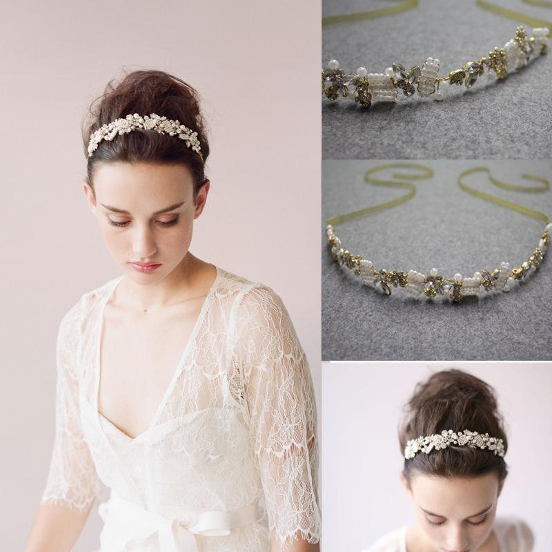 cheap hair accessories 2015 pearls crystal straps bridal
