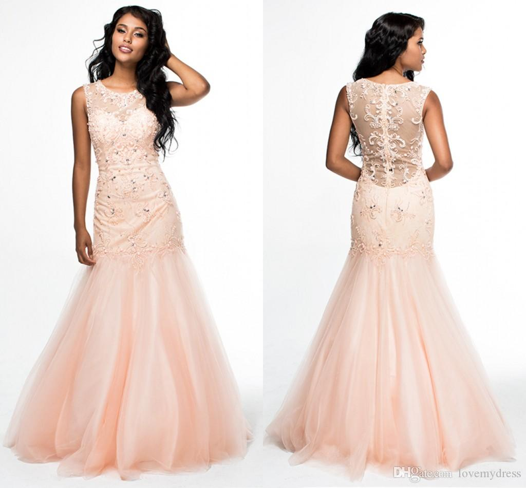 Light Pink Tulle Mermaid Pageant Gowns With Bling